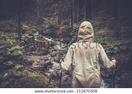 Hiker with hiking poles looking at small mouton river in a forest