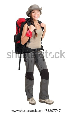 Hiker woman isolated on white background standing in full length. Beautiful Mixed race Asian / Caucasian female in outdoors hiking outfit.