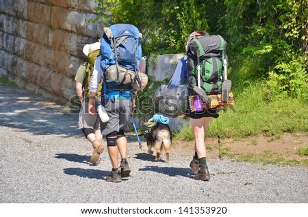 Hikers at Harpers Ferry in West Virginia, USA - stock photo