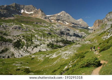 hikers in French Pyrenees  - stock photo