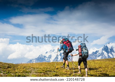 Hikers in hike. Active life, travel, sport concept - stock photo