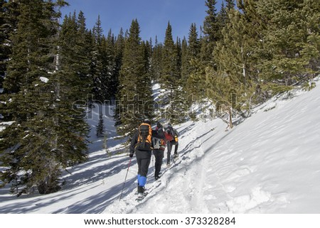Hikers snowshoeing on a trail above Eldora, near Boulder, Colorado. - stock photo