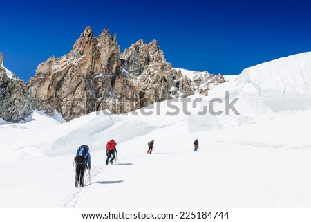 hikers team in the mountain.  Sport lifestyle travel concept  - stock photo