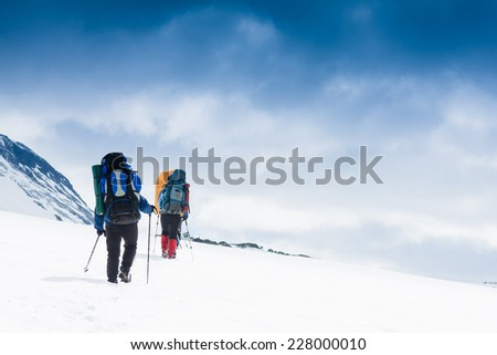 hikers team in the mountain. Sport lifestyle travel concept