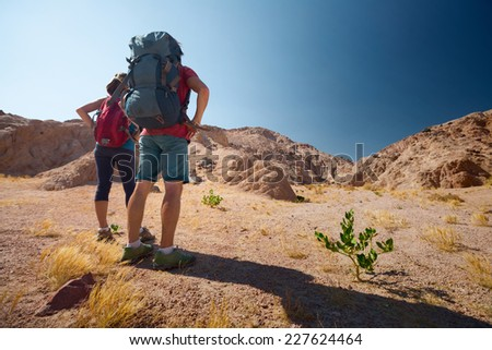 Hikers with backpacks standing on dry land of the desert at sunny day - stock photo