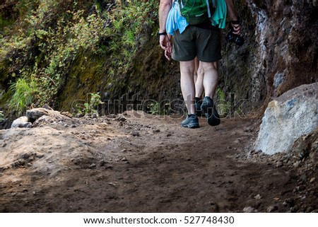 hikers with backpacks walking in mountains