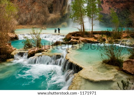Hiking at beautiful Havasu Falls in Arizona.