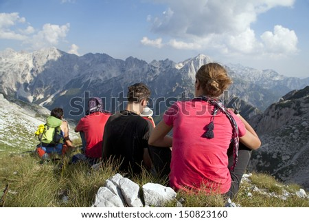 Hiking at incredible and extreme Albanian Alps - stock photo
