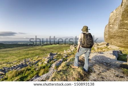 Hiking at Kilmar Tor on Bodmin Moor in Cornwall - stock photo