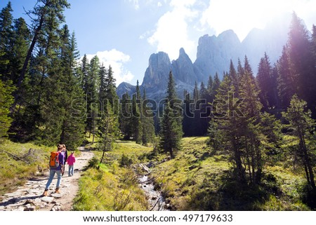 hiking at the puez odle nature park. Val Gardena to Alta� Badia. Italy.