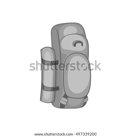 Hiking backpack icon in black monochrome style isolated on white background. Bag symbol  illustration