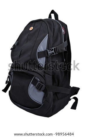 hiking backpack on a white background - stock photo