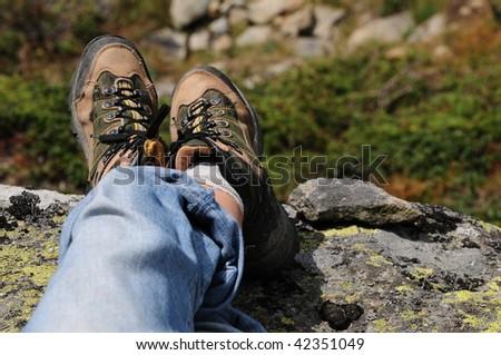 Hiking boot - stock photo