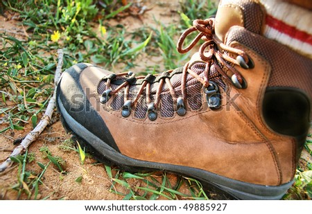 hiking boot close up - stock photo