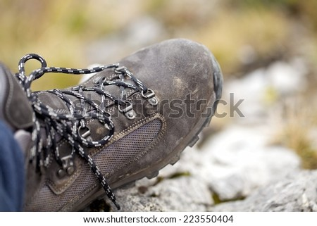 hiking boots / hiking shoes in mountain nature landscape. All year wear. Photo Tatra mountain, Slovakia, Poland - stock photo