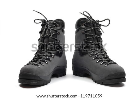 Hiking boots, isolated