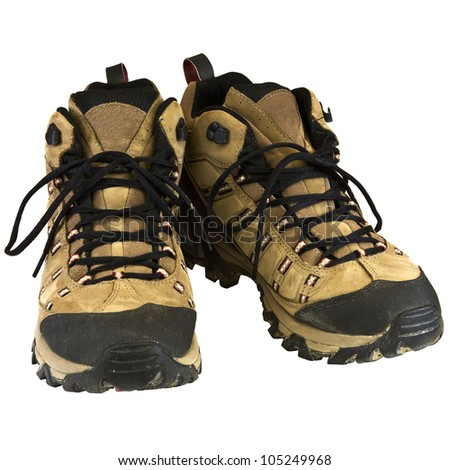 Hiking boots isolated on a white background. - stock photo