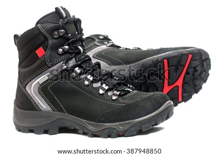Hiking boots isolated on the white background