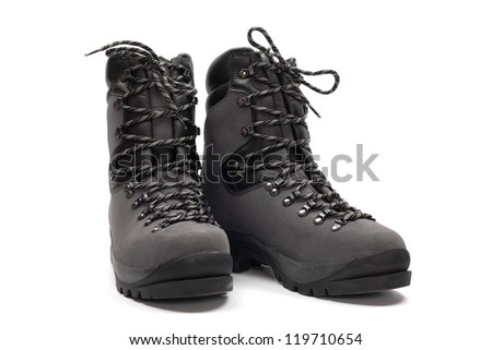 Hiking boots, isolated on white - stock photo
