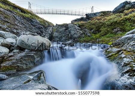 Hiking Bride in Sweden - stock photo