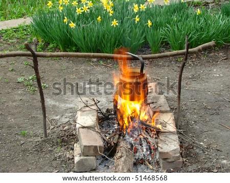 hiking campfire - stock photo