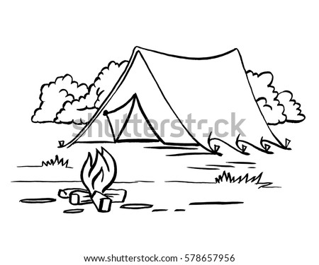 Hiking Camping Outdoor Recreation Concept With Tent Trees Bonfire Hand Drawn Landscape