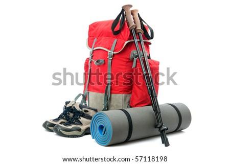 hiking equipment, rucksack, boots  and slipping pad - stock photo