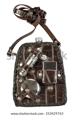 hiking flask with accessories isolated on white background
