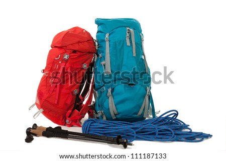 Hiking gear, isolated over white background