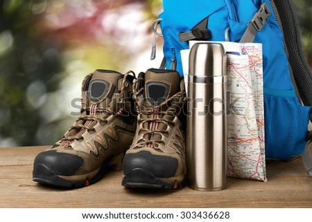 Hiking, hike, camping. - stock photo