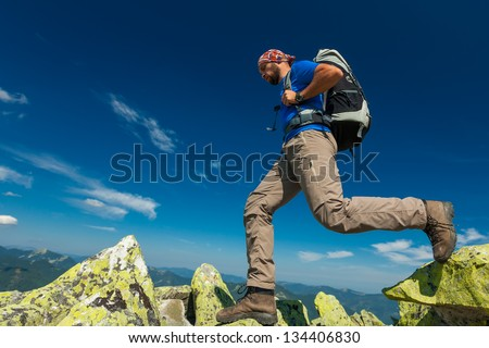 Hiking in Carpathian mountains - stock photo