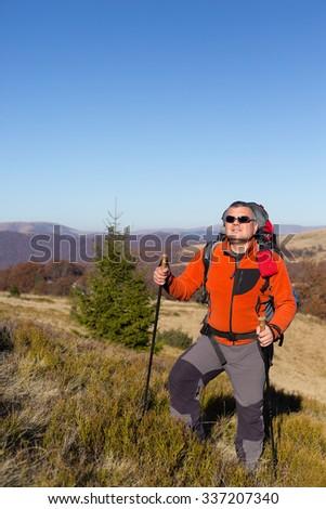 Hiking in Caucasus mountains. - stock photo