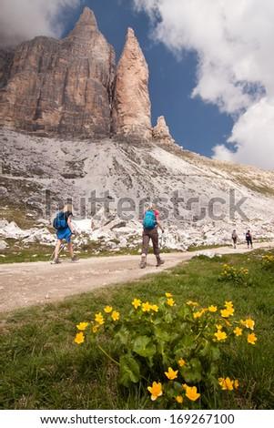 Hiking in Dolomites around Tre Cime di Lavaredo - stock photo