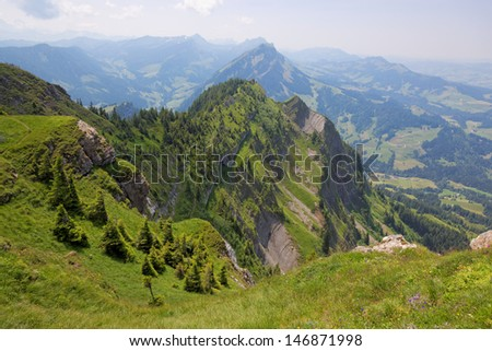 Hiking in Entlebuch, Switzerland, Foothills of the Alps, Mountains of Pilatus, Swiss Summer - stock photo