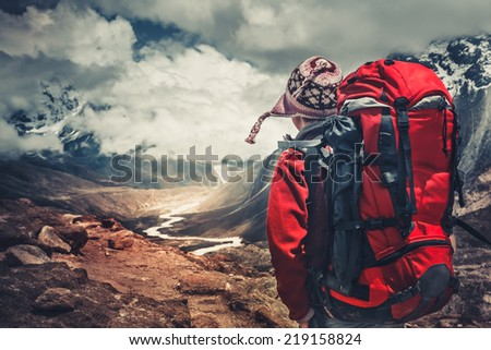 Hiking in Himalaya mountains. Travel sport lifestyle concept - stock photo
