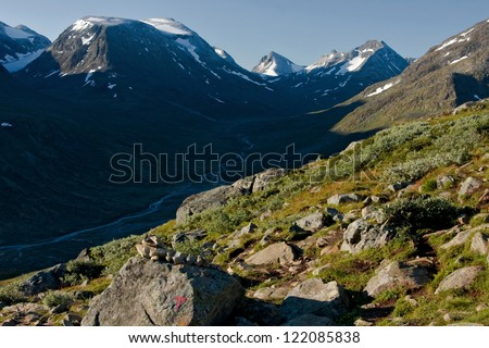 hiking in norway - stock photo