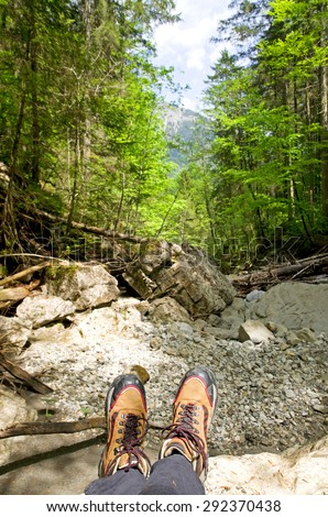 hiking in the bavarian alps near Bad Hindelang, Germany - stock photo