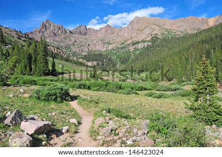 Hiking in the Rocky Mountains - stock photo