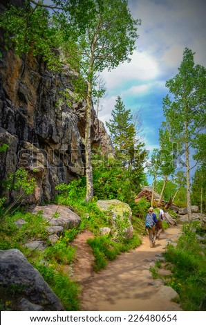 Hiking in the Rocky mountains national park, Colorado - stock photo