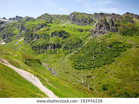 Hiking in the swiss alps: road near Pizol - stock photo
