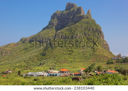 Hiking on island of Sao Nicolau, Cape Verde (Cabo Verde), Africa - stock photo