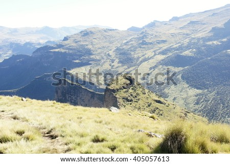 Hiking on ridge tour in Simien mountains, Ethiopia