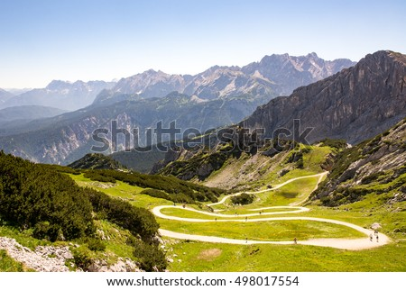 Hiking path at mount Osterfeldkopf in the alps of Bavaria