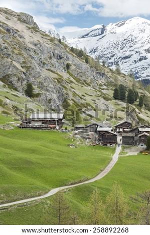 Hiking path From Furi to Zermatt, Swiss - stock photo