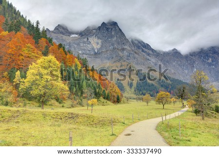 Hiking path through a meadow in the valley with maple trees by the mountainside ~ Beautiful autumn scenery of Karwendel Mountains in Hinterriss, Tirol, Austria ~ European alps ~