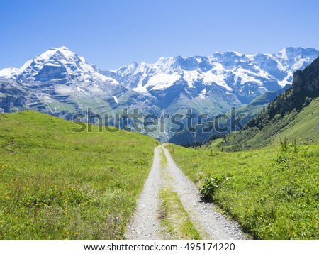 Hiking route around Jungfrau region with the Eiger on the background, Switzerland