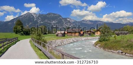 hiking route beside partnach river, garmisch area, bavaria - stock photo