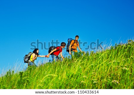 Hiking school holidays for teenagers - stock photo