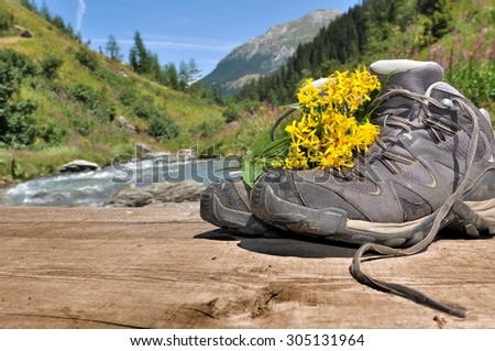hiking shoes with flowers on bridge crossing a mountain river - stock photo