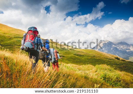 Hiking team. travel sport lifestyle concept